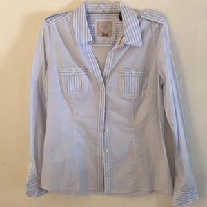 NWT Mango Blue & White Striped Blouse - Size 10